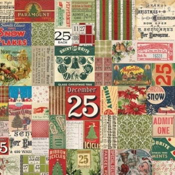 Tim Holtz Merriment 25th Multi Christmas Festive Collage Vintage Style Cotton Fabric