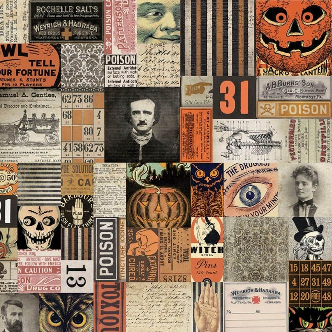 Tim Holtz Materialize 31st Multi Halloween Spooky Collage Vintage Style Cot
