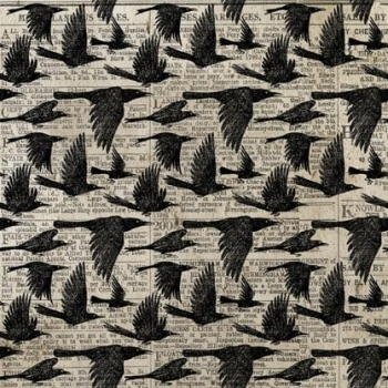 Tim Holtz Materialize Crows Halloween Spooky Bird in Flight Crow Flying Cotton Fabric