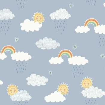 Counting Sheep Clouds Blue Rainbow Sun Raindrop Sunshine Rain Nursery Cotton Fabric