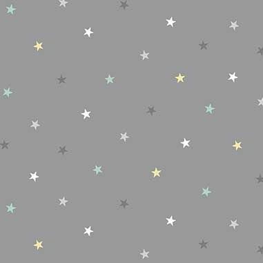 Counting Sheep Stars Grey Star Nursery Cotton Fabric