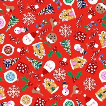 Jolly Santa Icons Red Novelty Christmas Scatter Father Christmas Robin Holly Gingerbread Candy Cane Festive Cotton Fabric