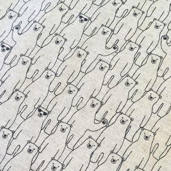 Polar Bear Cool Dudes Yuzawa Polar Bears in Sunglasses Atuko Japan Natural Cotton Linen Fabric