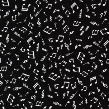 Kaufman Sevenberry Mini Prints In The Press Music Notes on Black Musical Cotton Fabric