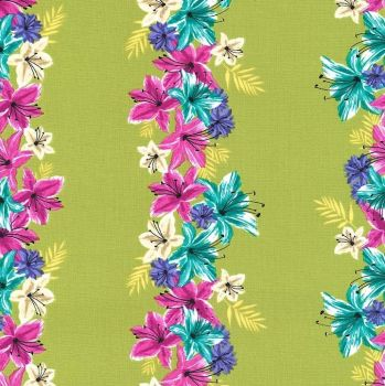 Hummingbirds and Hibiscus Lei Down Leaf Green Flowers Floral Stripe Tropical Cotton Fabric by Michael Miller