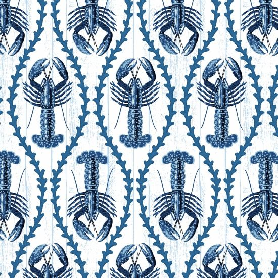 Indigo Coastal Lobsters Crustacean Lobster Cotton Fabric