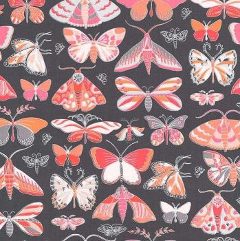 Masquerade Butterflies Moth Tamara Kate Joy Peach Butterfly Moths Coral Grey Cotton Fabric