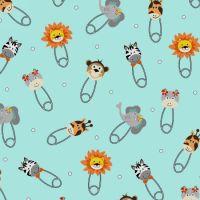Bungle Jungle Baby Animal Heads Safety Pins Nappy Diaper Pin Lion Zebra Giraffe Elephant Nursery Cotton Fabric