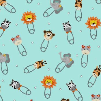 Bungle Jungle Baby Animal Heads Safety Pins Nappy Diaper Pin Lion Zebra Giraffe Elephant Nursery Cotton Fabric
