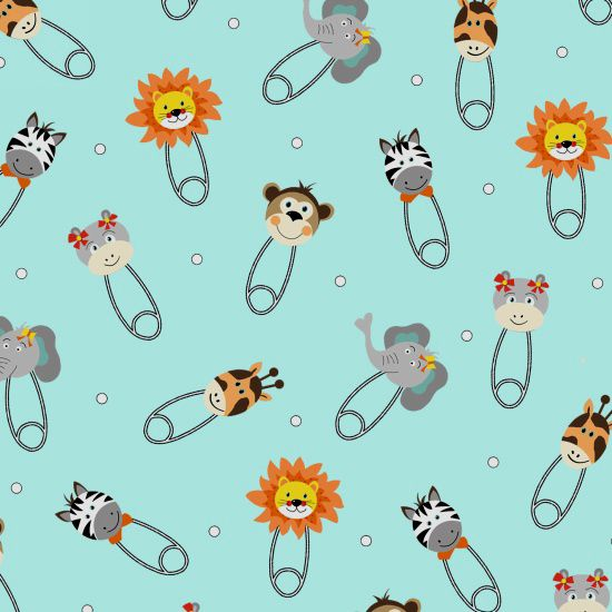 Bungle Jungle Baby Animal Heads Safety Pins Nappy Diaper Pin Lion Zebra Gir