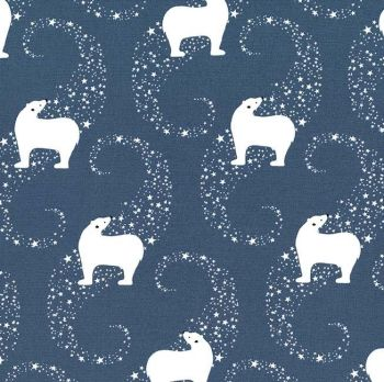 Winter Tails Polar Bears Celestial Polar Bear Stars Christmas Festive Cotton Fabric