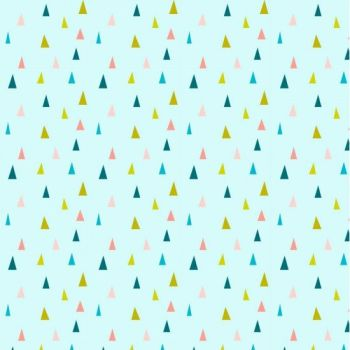 Neighbourhood Triangles Geometric Triangle Blue Pink Mustard Yellow Cotton Fabric