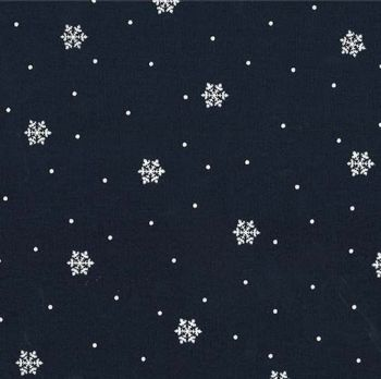 Winter Tails Snowbound Midnite Snowflake Navy Blue Snow Christmas Festive Cotton Fabric