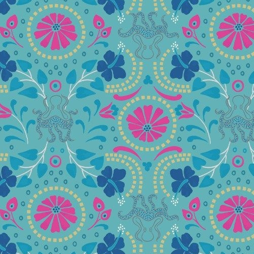 Taverna Turquoise Floral Octopus Geometric Lindos Hibiscus Metallic Gold Co