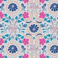 Taverna Lightest Grey Floral Octopus Geometric Lindos Hibiscus Metallic Gold Cotton Fabric
