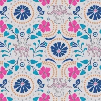 Taverna Lightest Grey Floral Octopus Geometric Lindos Hibiscus Metallic Gold Cotton Fabric
