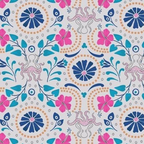 Taverna Lightest Grey Floral Octopus Geometric Lindos Hibiscus Metallic Gol