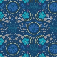 Taverna Dark Blue Floral Octopus Geometric Lindos Hibiscus Metallic Gold Cotton Fabric