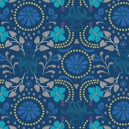 Taverna Dark Blue Floral Octopus Geometric Lindos Hibiscus Metallic Gold Co