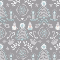 Hygge Christmas Grey Tonttu Festive Tree Candle Star Heart Mittens Cotton Fabric