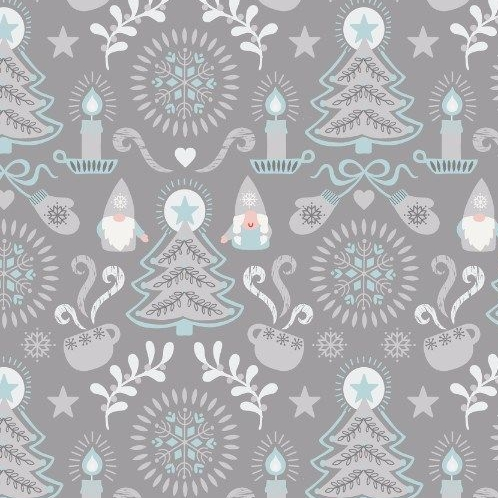 Hygge Christmas Grey Tonttu Festive Tree Candle Star Heart Mittens Cotton F
