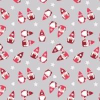 Hygge Christmas Scattered Tonttu Elves Grey Festive Star Heart Cotton Fabric
