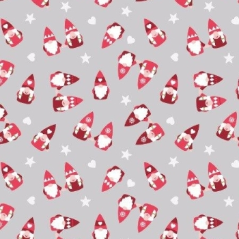 Hygge Christmas Scattered Tonttu Elves Grey Festive Star Heart Cotton Fabric