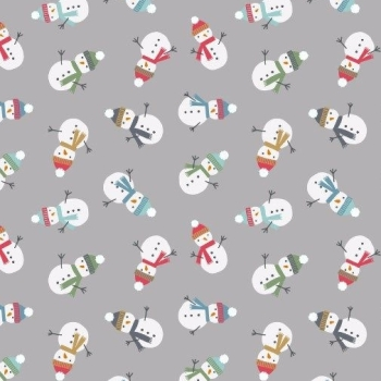 Snow Day Snowman Christmas Scattered Snowmen Grey Pearlescent Festive Cotton Fabric