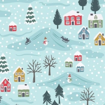Snow Day Scenic Icy Blue Snowman Christmas Scene Trees Houses Village Winter Pearlescent Festive Cotton Fabric