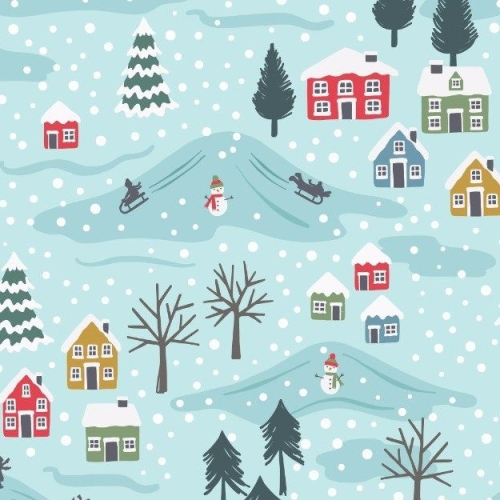 Snow Day Scenic Icy Blue Snowman Christmas Scene Trees Houses Village Winte