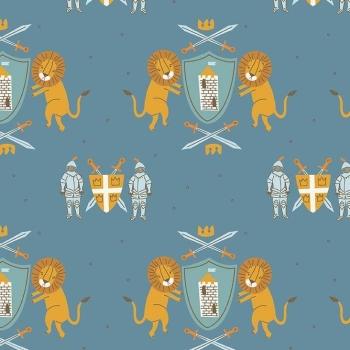 Lancelot Medieval Main Dark Blue Lion Shield Knight Armour Sword King Arthur Crown Nursery Cotton Fabric
