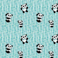 Panda Love Bamboo Aqua Pandas Bear Nursery Panda Bears Cotton Fabric