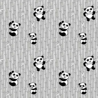 Panda Love Bamboo Light Grey Gray Pandas Bear Nursery Panda Bears Cotton Fabric