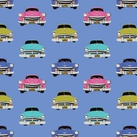 Club Havana Boteros Blue Classic Car Hot Rod Cars Vintage Driving Cotton Fabric