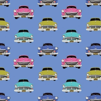 Club Havana Boteros Blue Classic Car Hot Rod Cars Vintage Driving Cotton Fabric