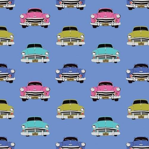 Club Havana Boteros Blue Classic Car Hot Rod Cars Vintage Driving Cotton Fa