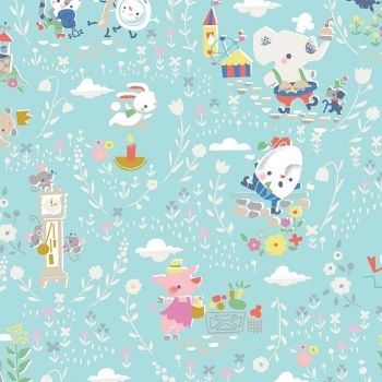 Once Upon A Rhyme Main Aqua Nursery Rhymes Childrens Cotton Fabric