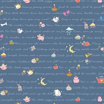 Once Upon A Rhyme Verses Blue Nursery Rhymes Text Childrens Cotton Fabric