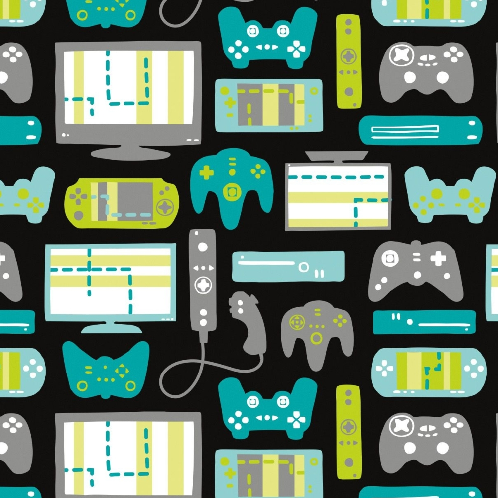 Game On Equipment Console Gaming Gamers Video Games Cotton Fabric