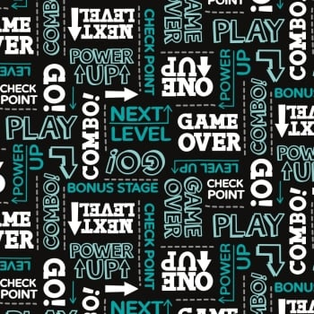 Game On Text Black Power Up Game Over Gaming Gamers Video Games Cotton Fabric
