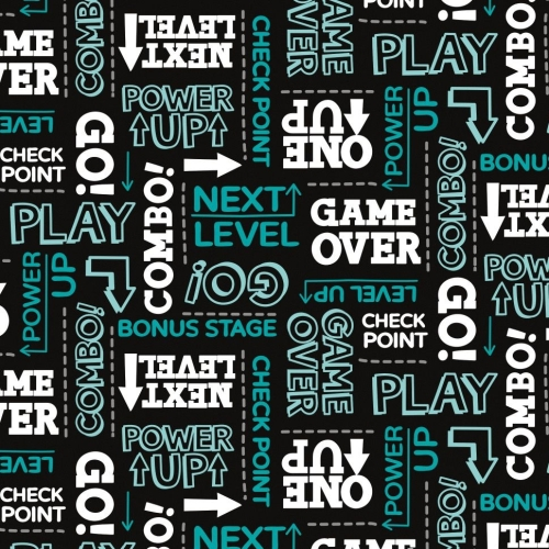 Game On Text Black Power Up Game Over Gaming Gamers Video Games Cotton Fabr