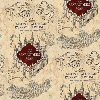 Harry Potter Marauders Map Hogwarts Stretch Cotton Jersey Knit Fabric