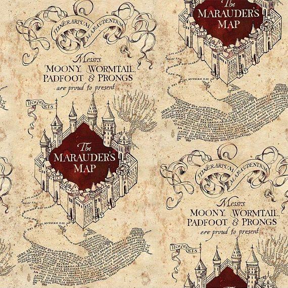 Harry Potter Marauders Map Hogwarts Stretch Cotton Jersey Knit Fabric