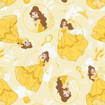1 Metre Disney Princess Belle Heart Strong Yellow Beauty and the Beast Cotton Fabric