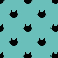 Kitty Dots Meow Cats Cat Face Turquoise Cotton Fabric