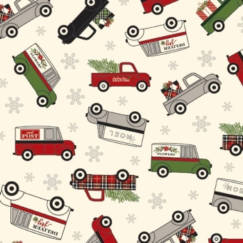 Christmas Delivery Main Cream Retro Christmas Trees Trucks Cars Vans Holiday Winter Cotton Fabric