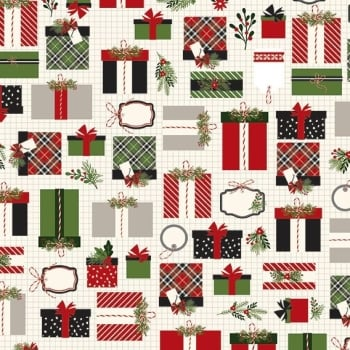 Christmas Delivery Presents Gifts Cream Retro Graph Paper Holly Ribbon Plaid Wrapping Holiday Winter Cotton Fabric