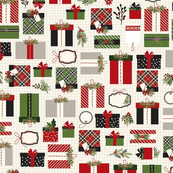 Christmas Delivery Presents Gifts Cream Retro Graph Paper Holly Ribbon Plai