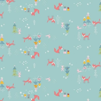 Winter Tales Tiny Fox and Bunny Christmas Tree Star Present Gift Holiday Festive Cotton Fabric