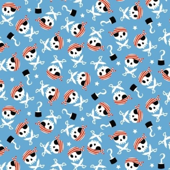 Pirate Skulls and Swords Pirate's Life Icons Scatter on Blue Hat Cutlass Star Pirates Cotton Fabric
